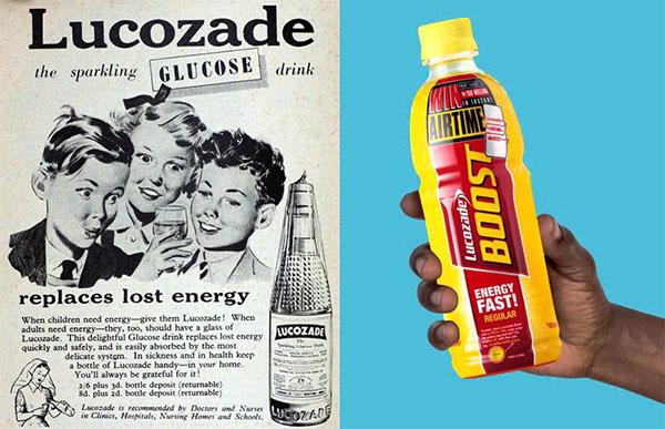Старая и современная реклама Lucozade